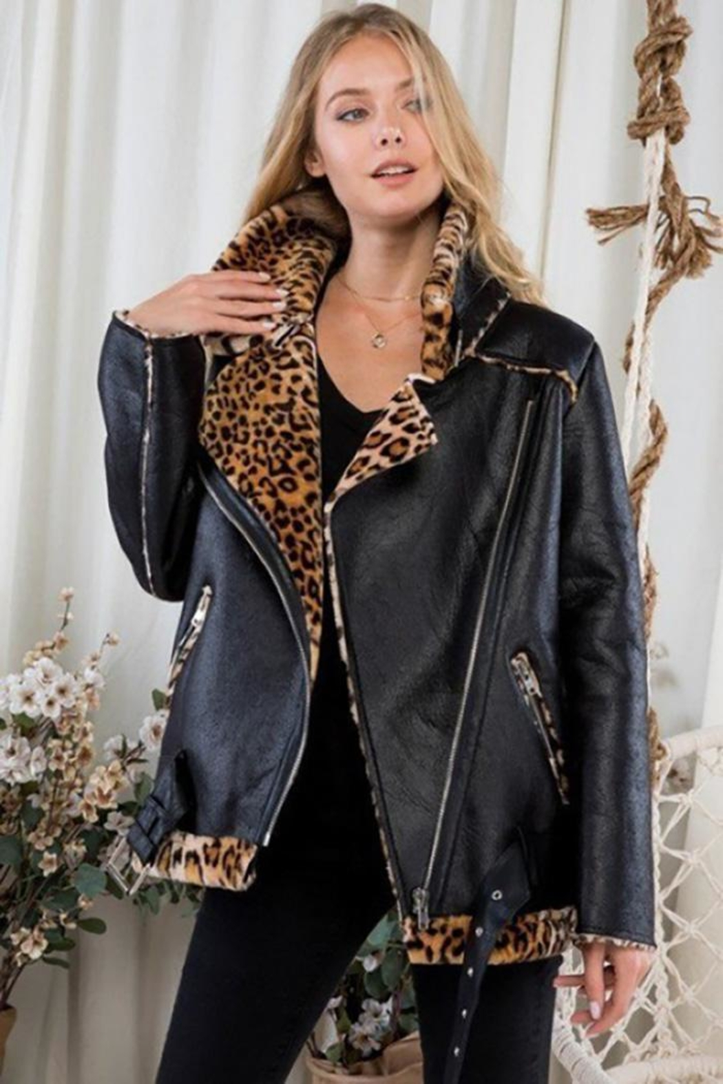 Day & Night Moto Jacket With Leopard Print - Side Cropped Image