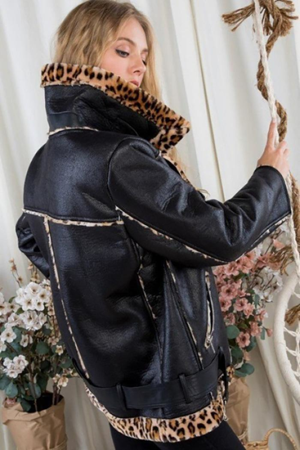 Day & Night Moto Jacket With Leopard Print - Front Full Image