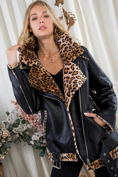 Shoptiques Product: Moto Jacket With Leopard Print