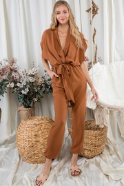 Day & Night Solid Surplice Jumpsuit - Product Mini Image