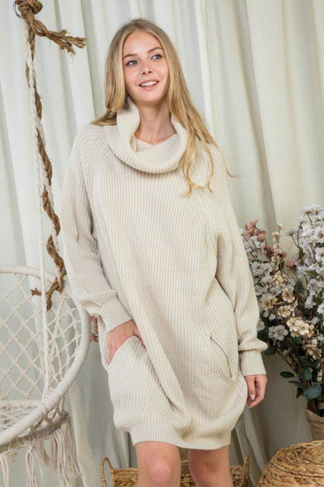 Day & Night Turtleneck Sweater Dress - Front Cropped Image