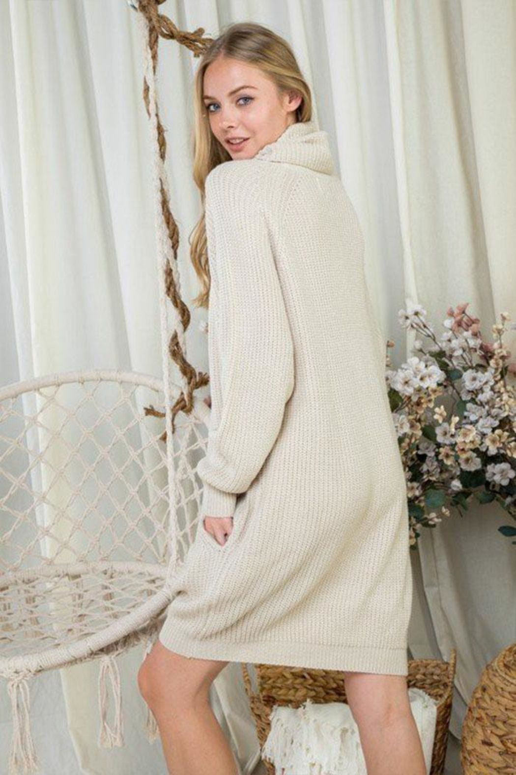 Day & Night Turtleneck Sweater Dress - Front Full Image