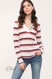 Day to Day Stripe Button Top - Product Mini Image