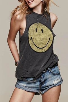 Daydreamer Destroyed Smiley Tank Top - Product List Image