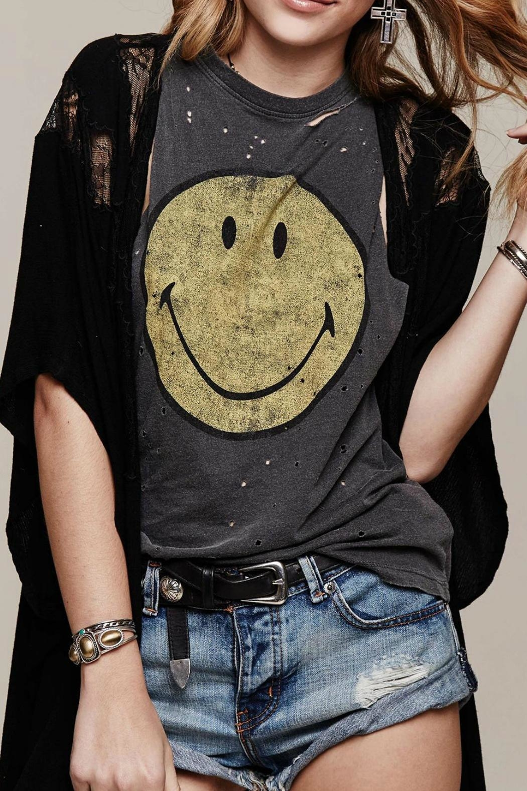 Daydreamer Destroyed Smiley Tank Top - Front Full Image