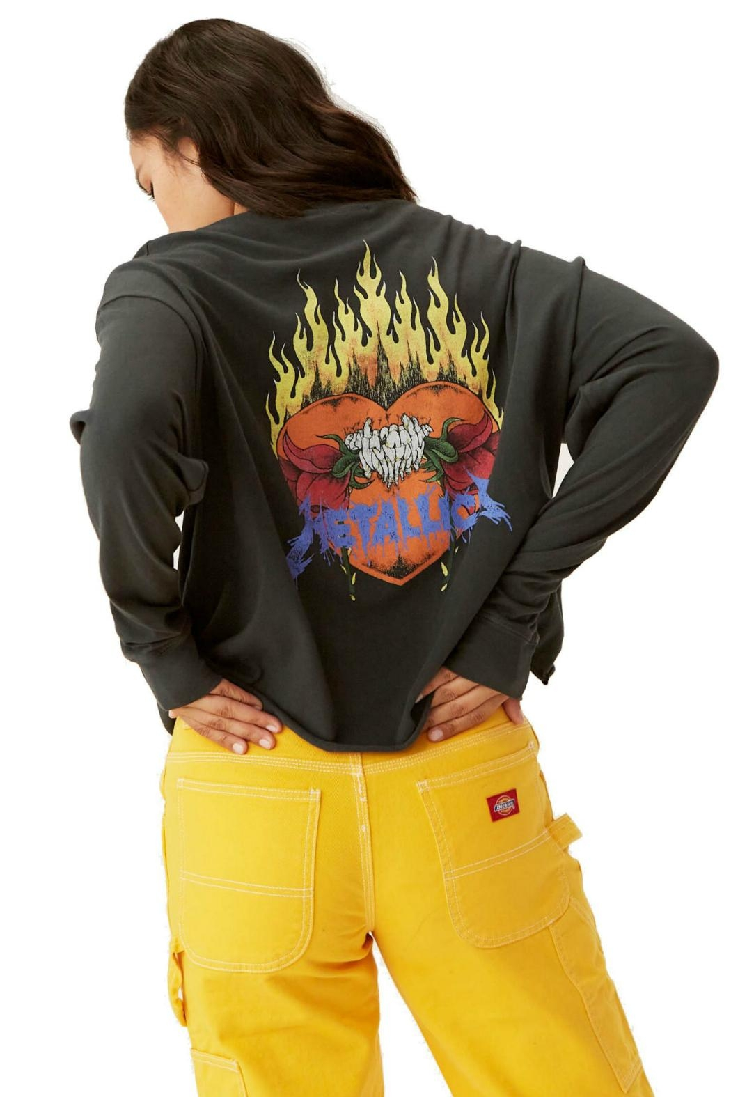 Daydreamer Metallica Flaming Skull - Back Cropped Image