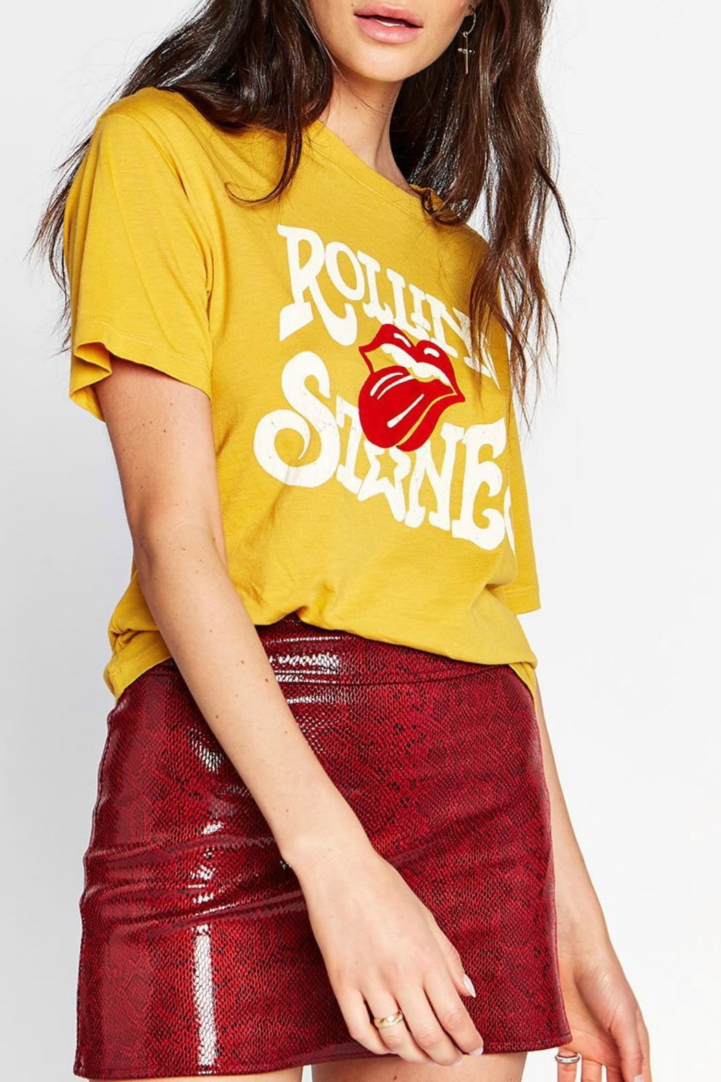 Rolling Stones Yellow Distressed Tongue Vintage T Shirt