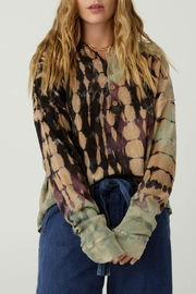 Daydreamer Tie-Dye Thermal Henley - Front cropped