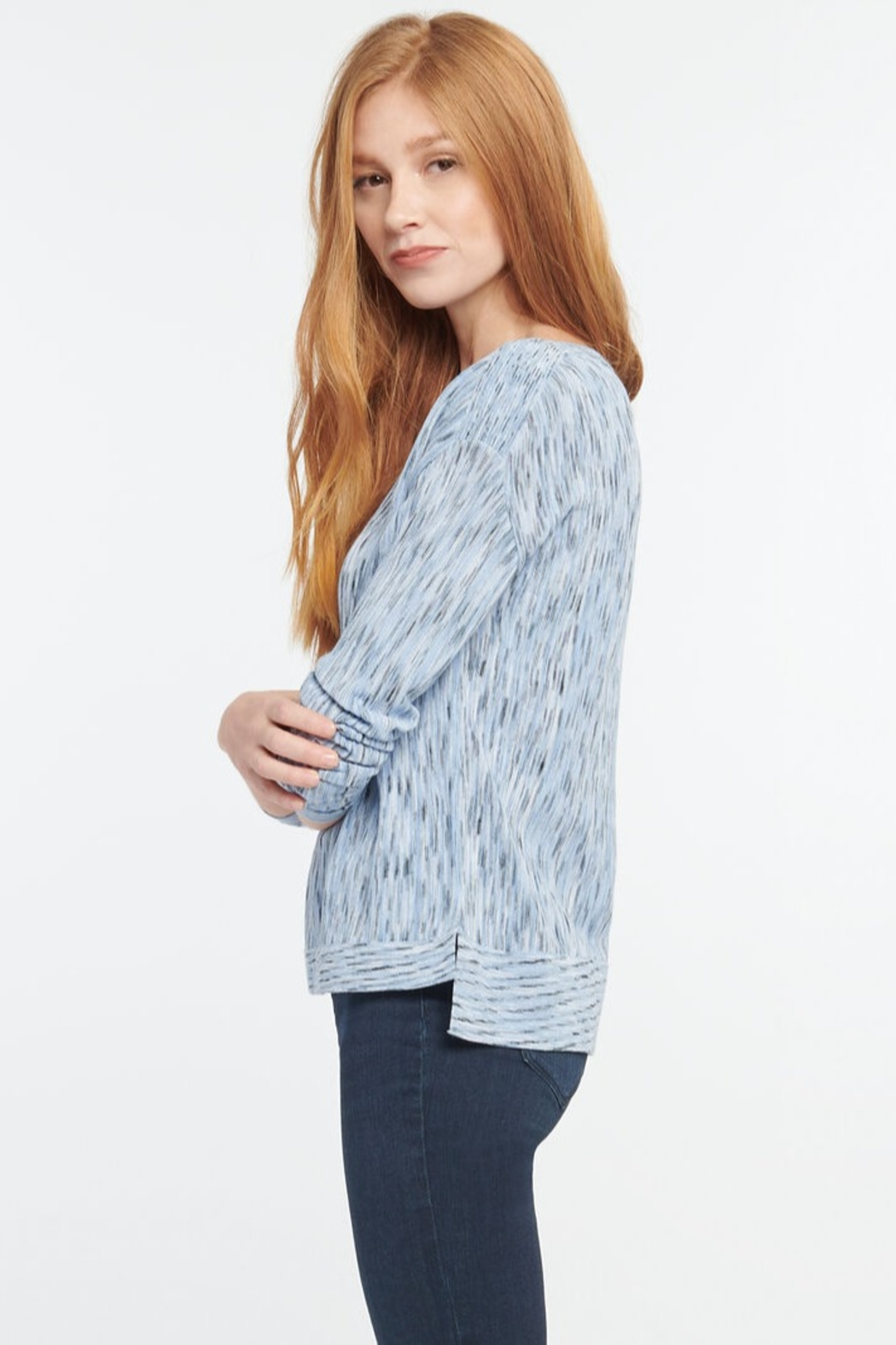 Nic + Zoe Daytrip Sweater, Light Sky - Front Full Image