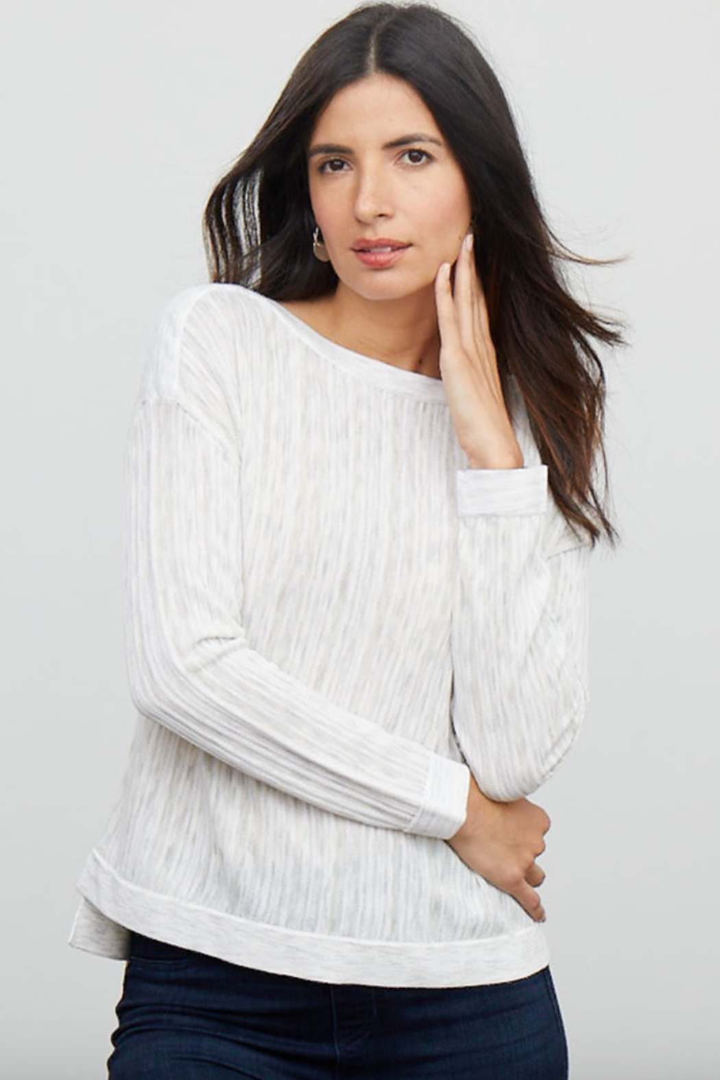 Nic + Zoe Daytrip Sweater, Light Sky - Front Cropped Image