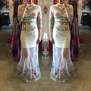 Shoptiques Embroidered Maxi Dress