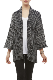 DC KNITS Black White Cardigan - Front cropped