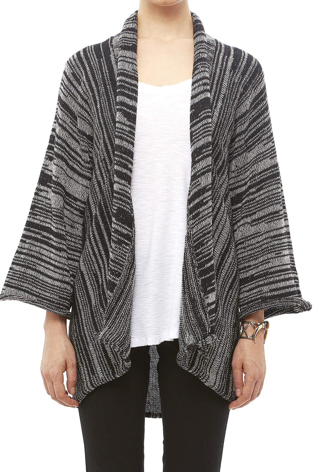 DC KNITS Black White Cardigan - Side Cropped Image