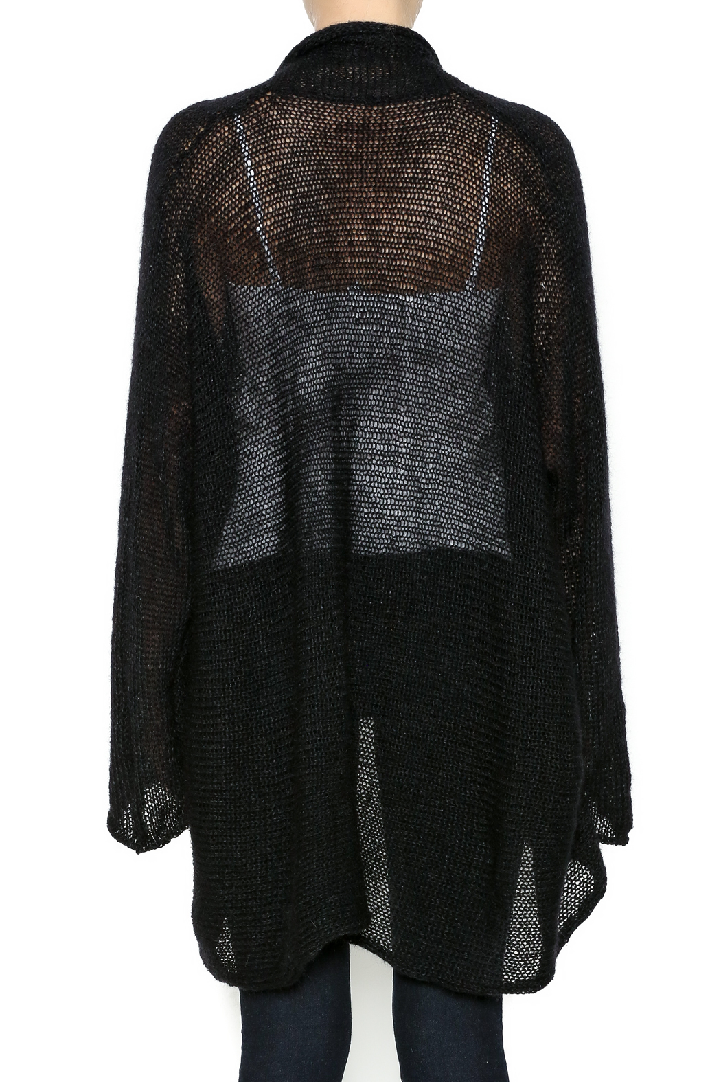 DC KNITS Black Mohair Cardigan - Back Cropped Image