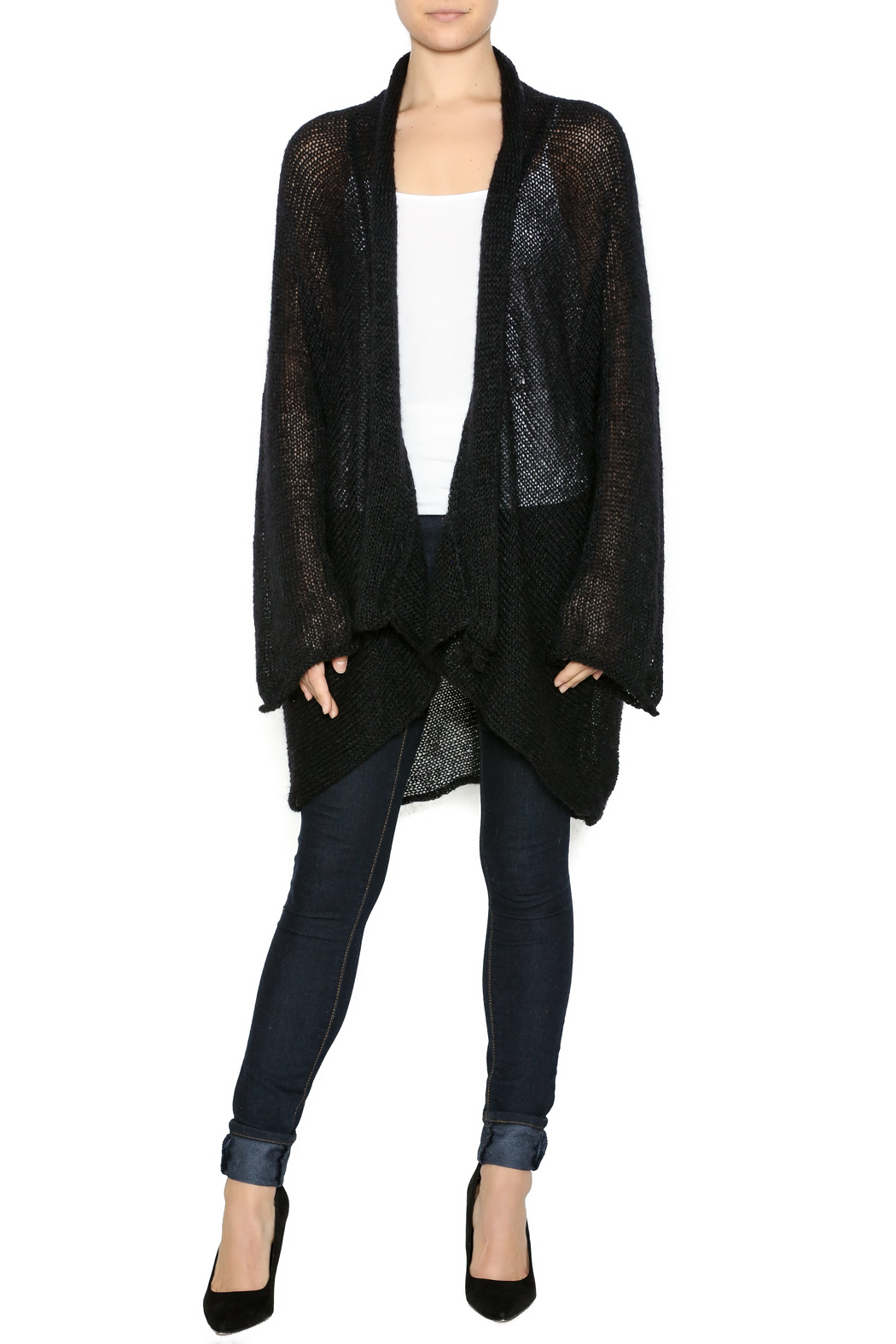 DC KNITS Black Mohair Cardigan - Front Full Image