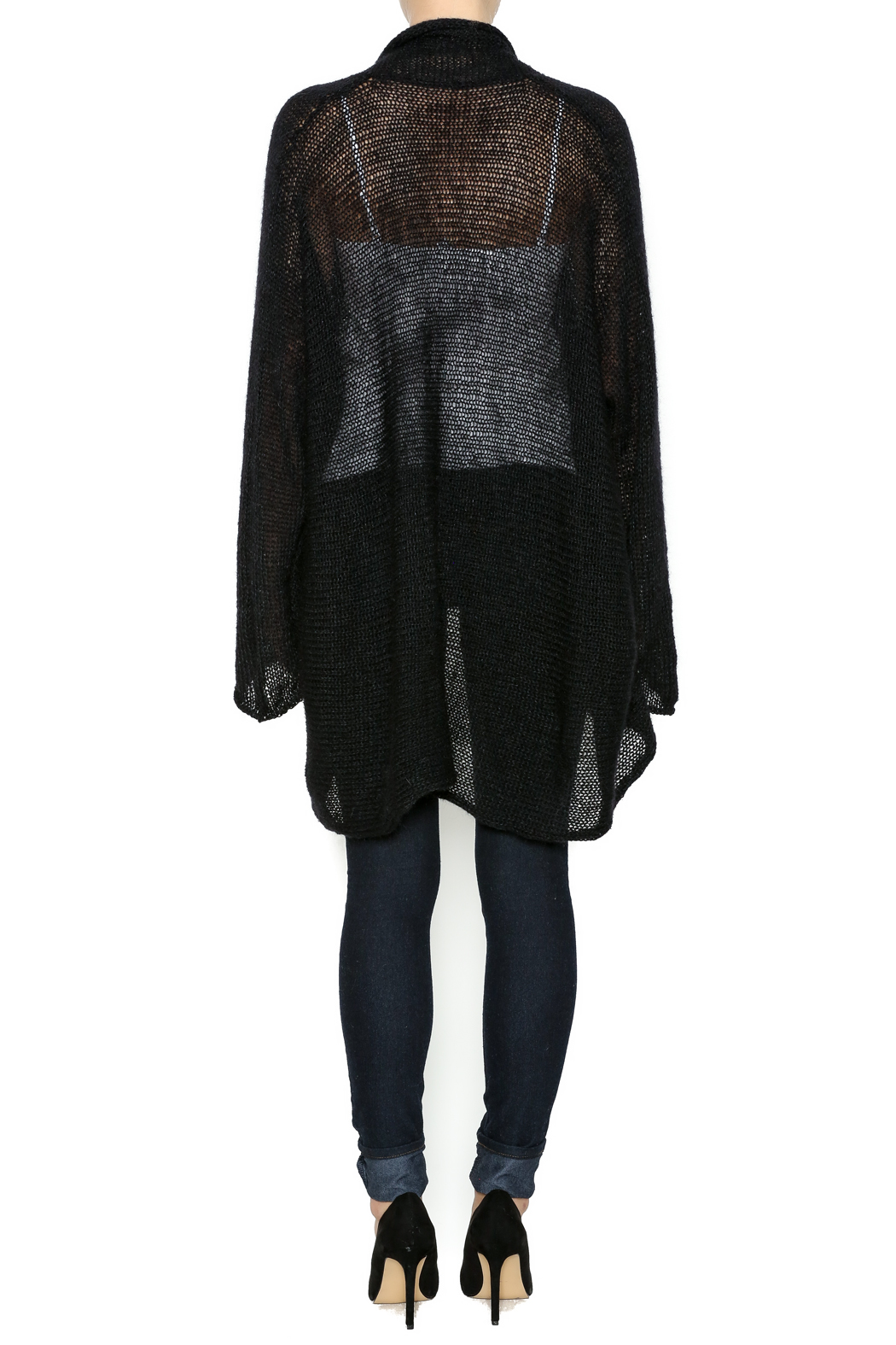 DC KNITS Black Mohair Cardigan - Side Cropped Image