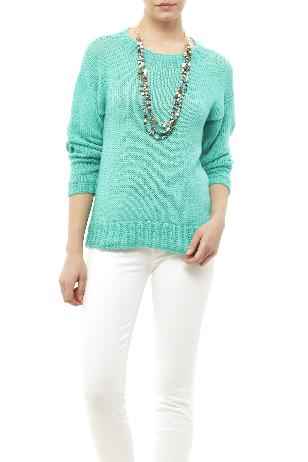DC KNITS Comfy Cotton Turquoise Sweater - Main Image