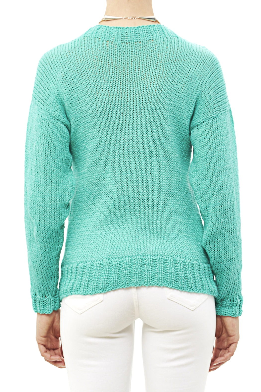 DC KNITS Comfy Cotton Turquoise Sweater - Back Cropped Image