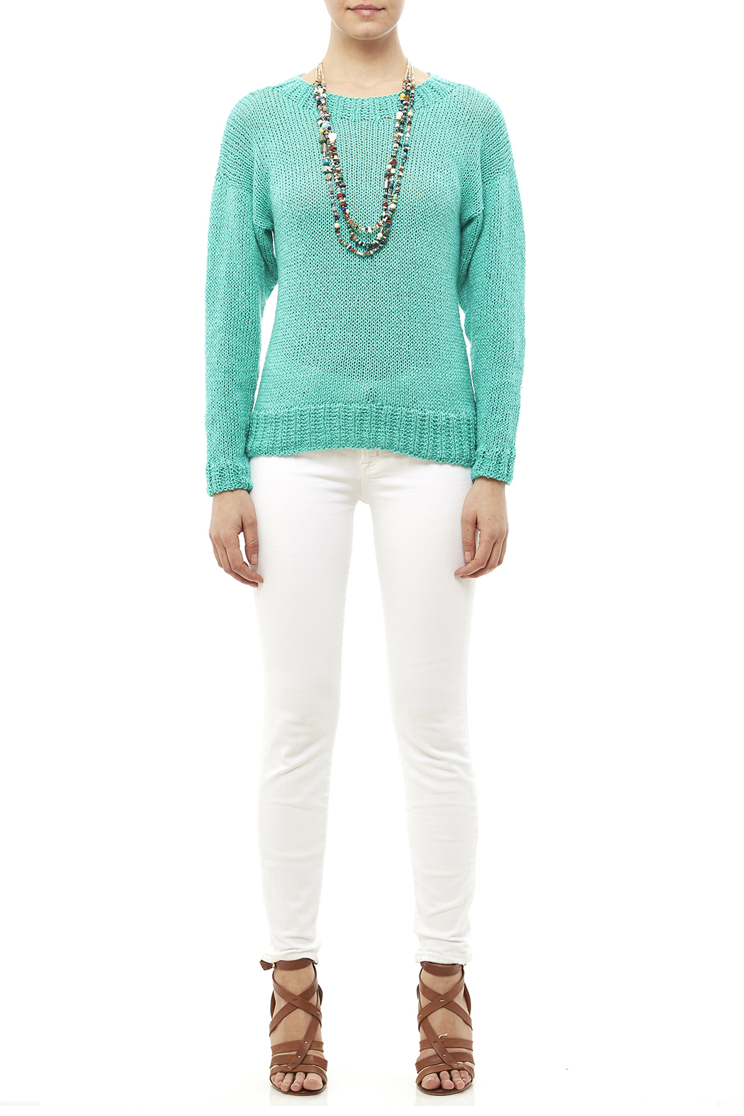 DC KNITS Comfy Cotton Turquoise Sweater - Front Full Image