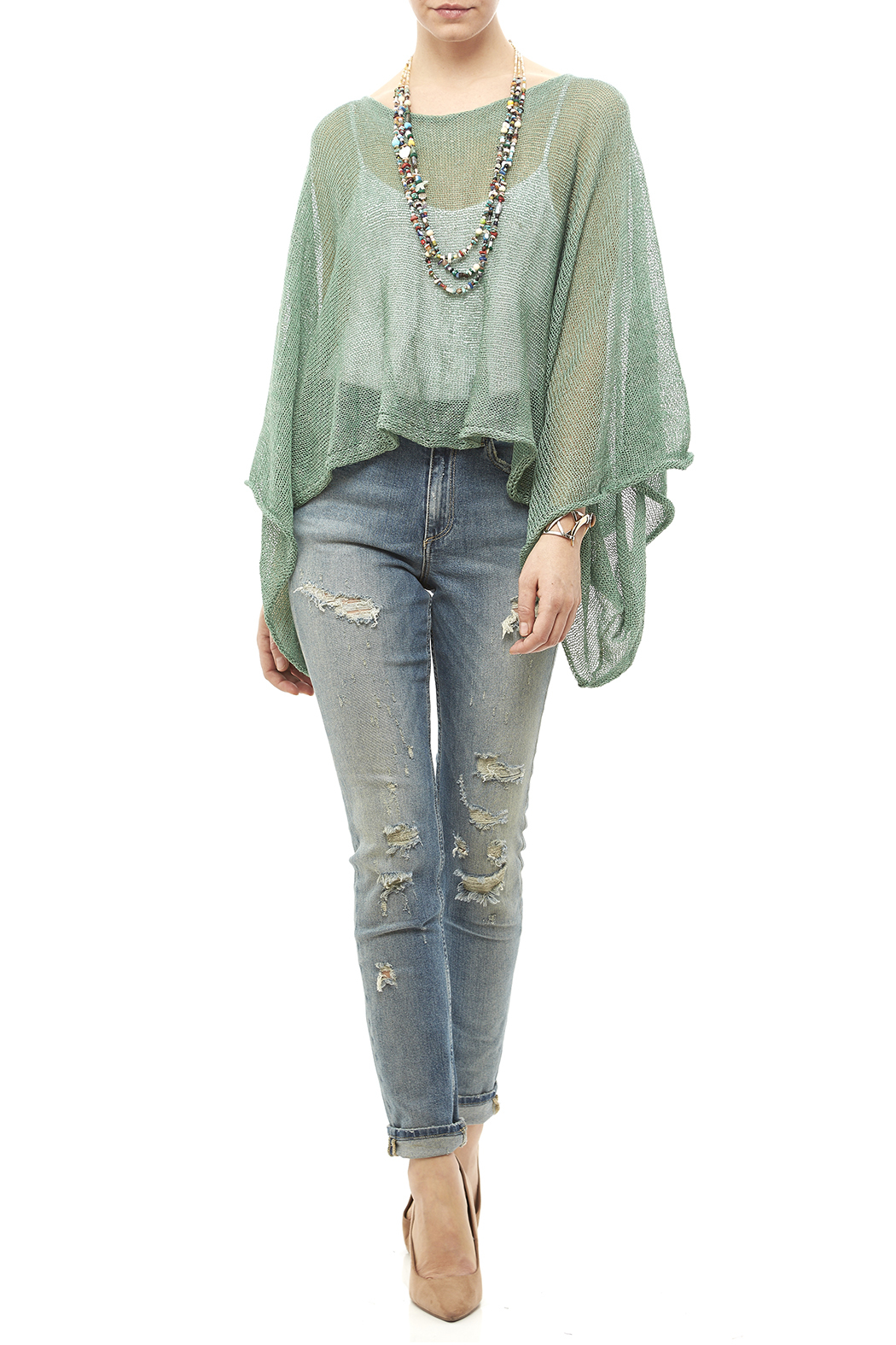 DC KNITS Green Linen Blend Sweater - Side Cropped Image