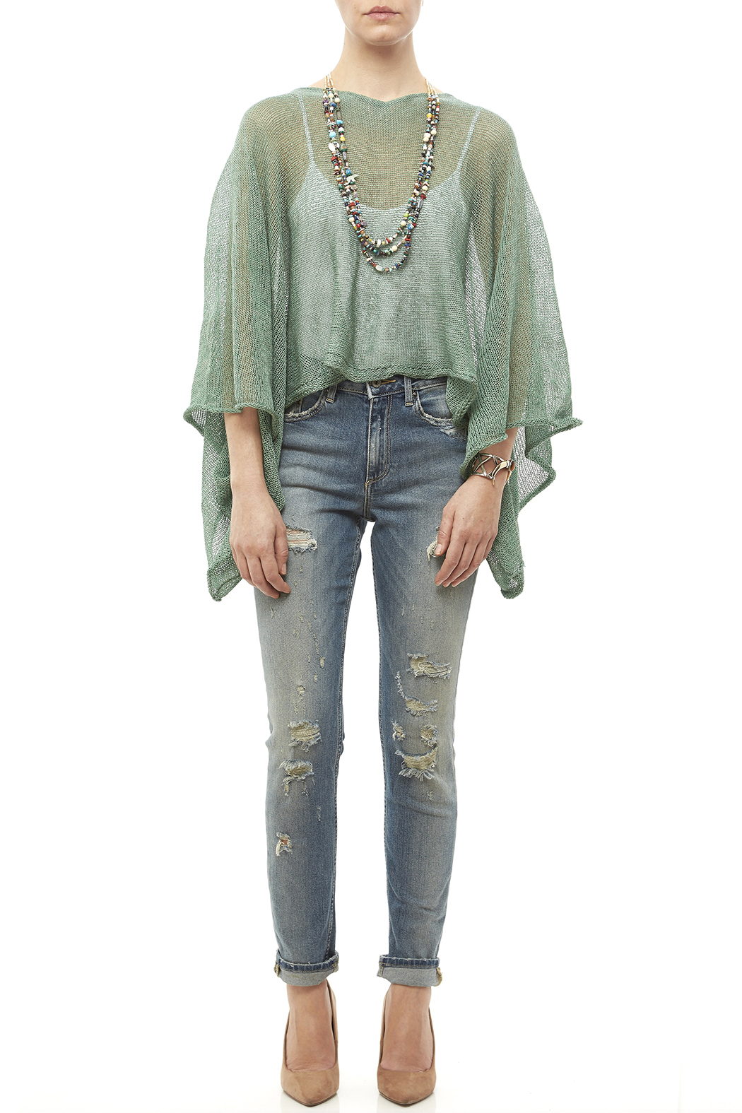 DC KNITS Green Linen Blend Sweater - Front Full Image