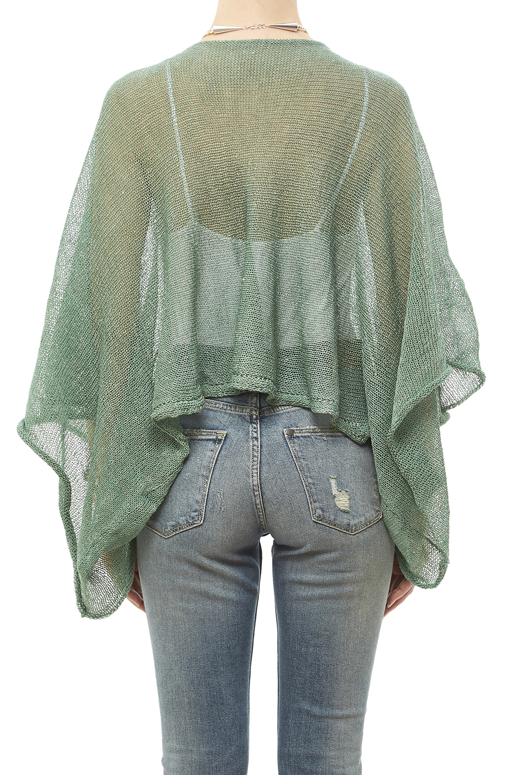 DC KNITS Green Linen Blend Sweater - Back Cropped Image