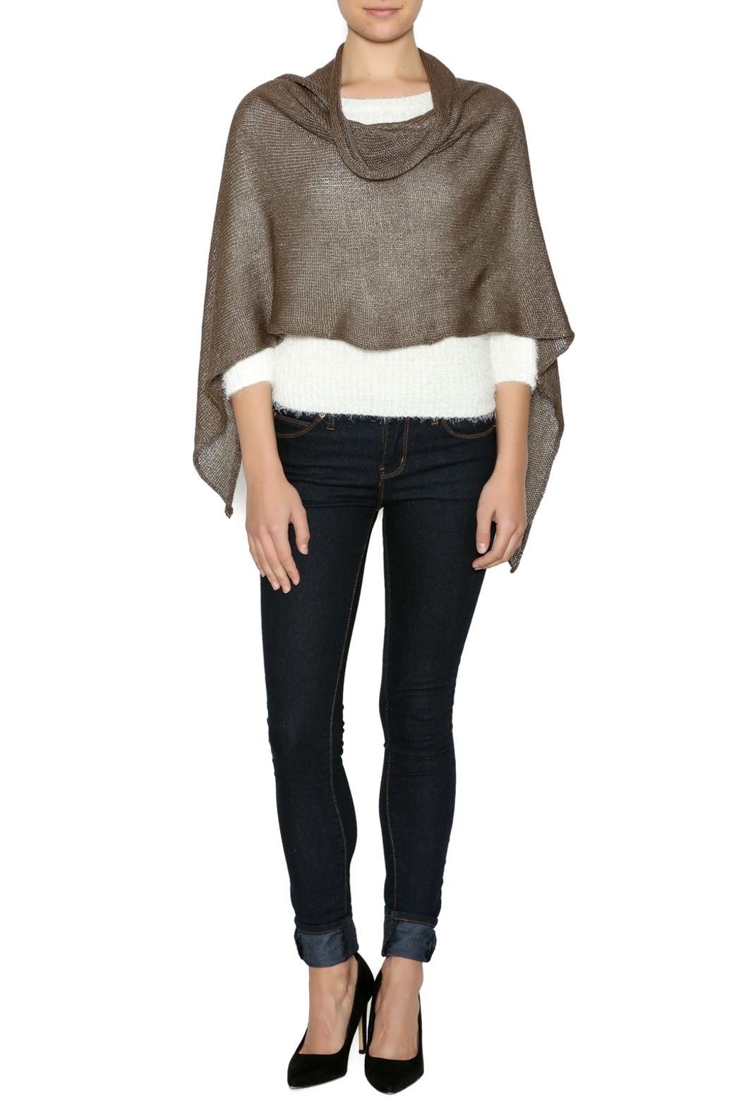 DC KNITS Rayon Sheen Poncho - Front Cropped Image