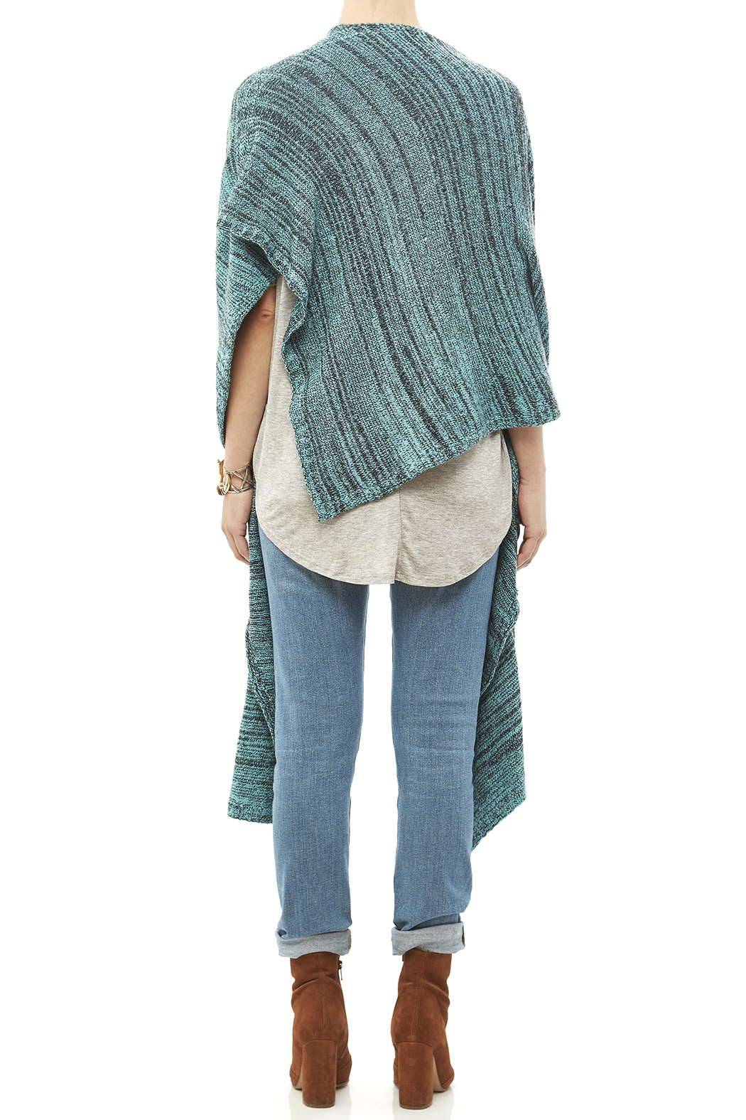 DC KNITS Anthracite Cashmere Ruana - Back Cropped Image