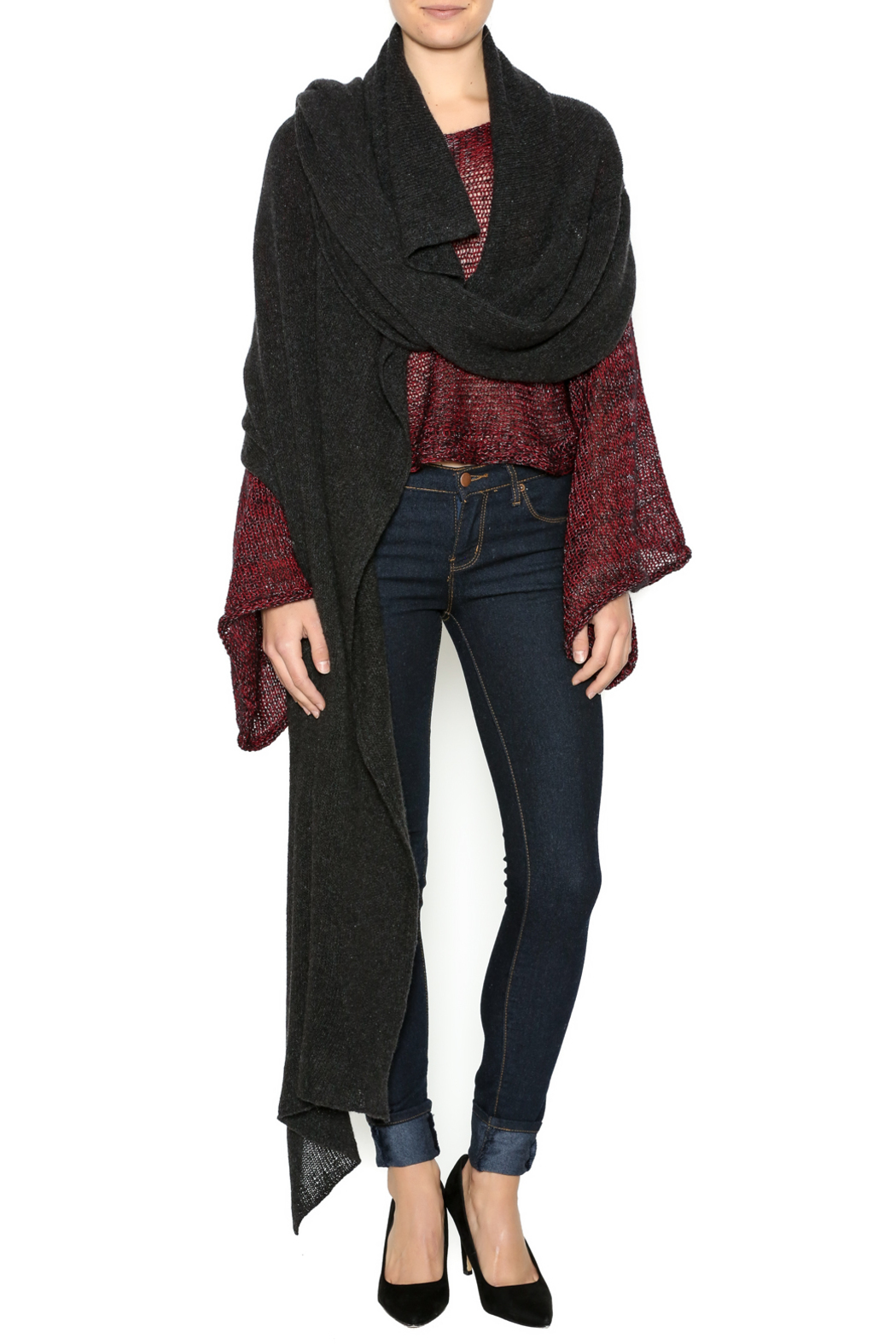 DC KNITS Anthracite Cashmere Ruana - Front Full Image