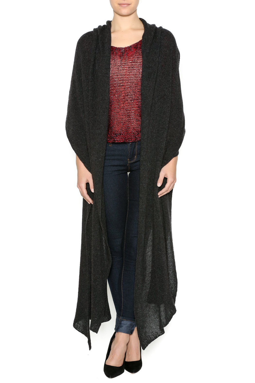 DC KNITS Anthracite Cashmere Ruana - Front Cropped Image