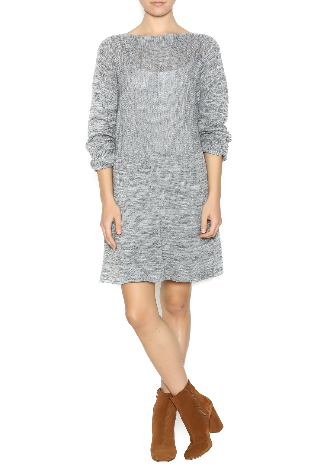 DC KNITS Grey Sweater Dress - Front Full Image