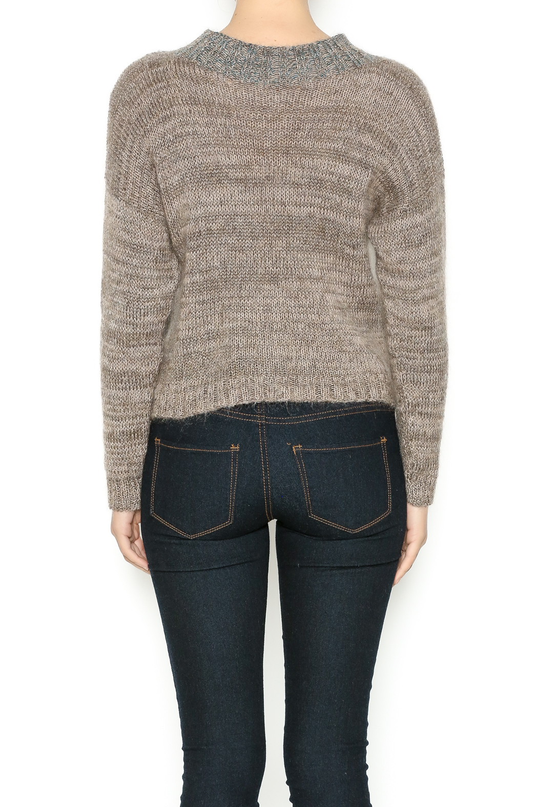 DC KNITS Tan Mohair Sweater - Back Cropped Image