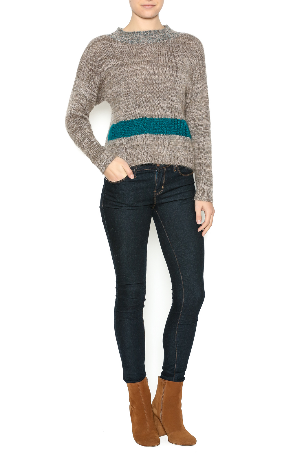 DC KNITS Tan Mohair Sweater - Front Full Image
