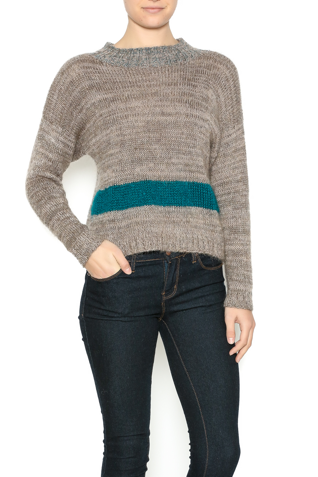 DC KNITS Tan Mohair Sweater - Front Cropped Image
