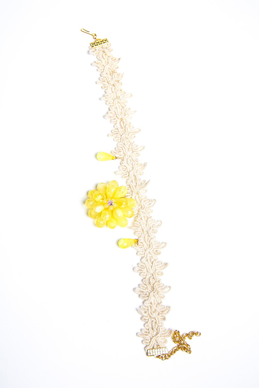 Design by Ameilie Yellow Floral Choker - Front Full Image