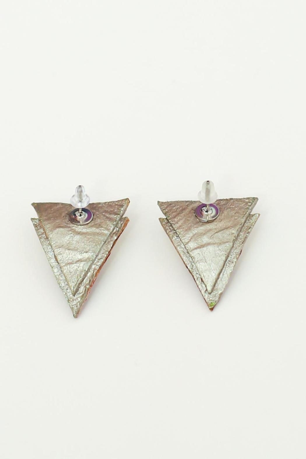 Flocktails Triangle Leather Earrings - Back Cropped Image