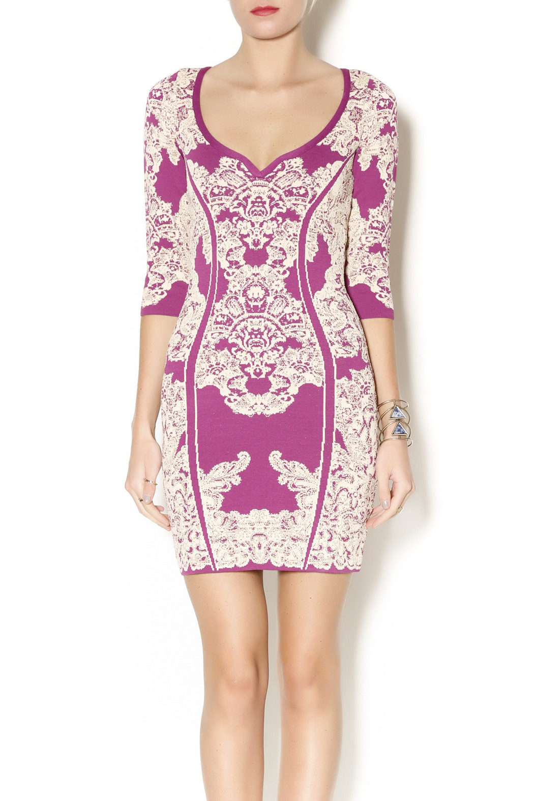 Wow Couture Damask Body Con Dress - Main Image
