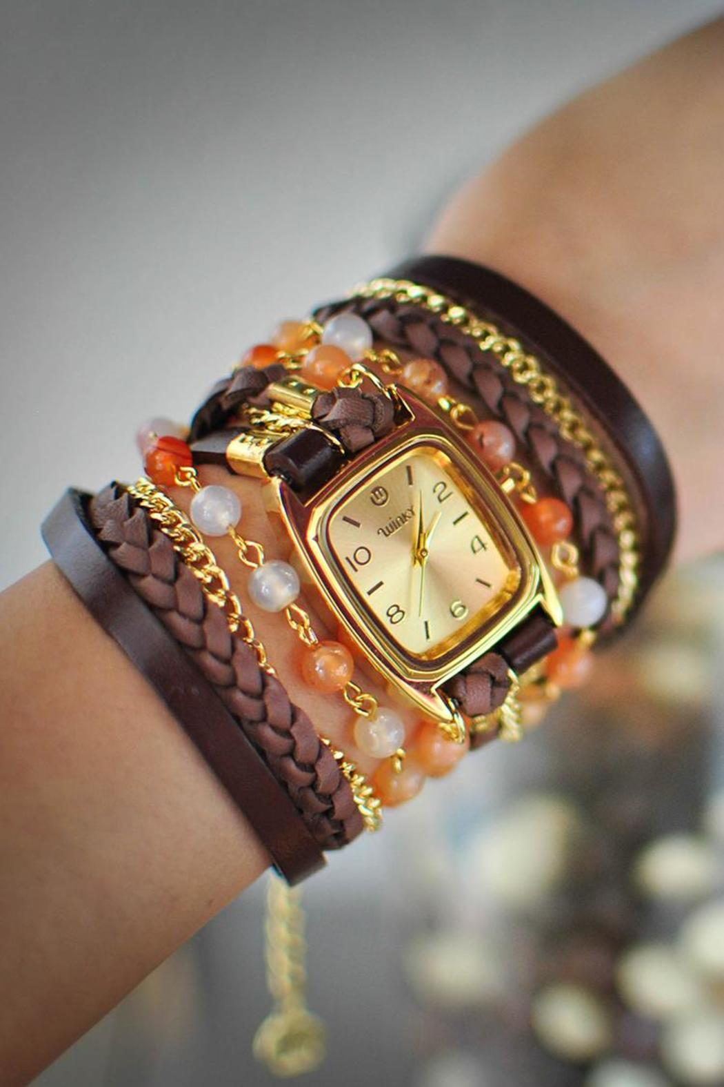 Winky Designs Natural Carnelian Wrap Watch - Front Full Image