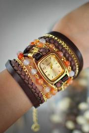 Winky Designs Natural Carnelian Wrap Watch - Front full body