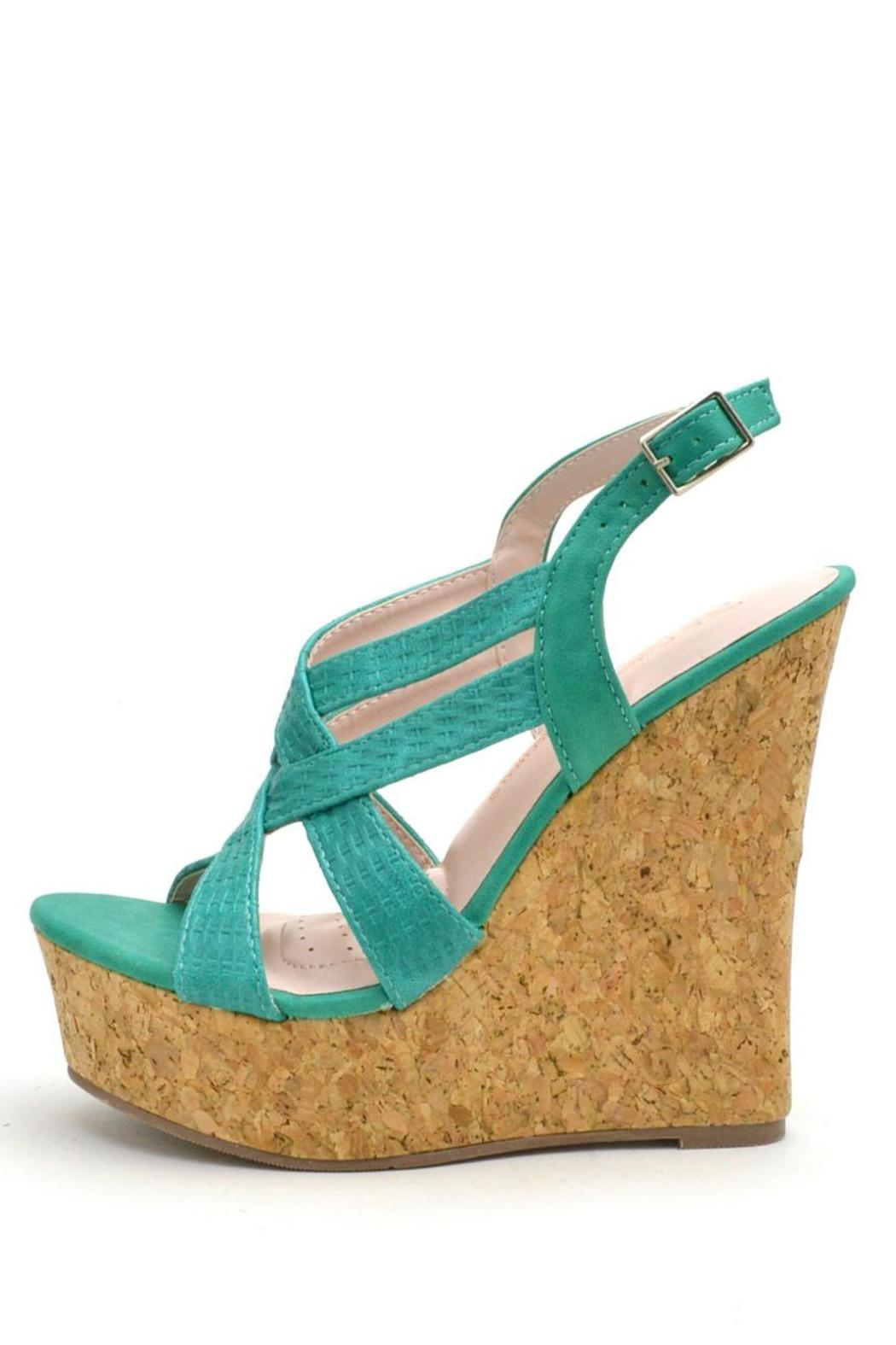 De Blossom Collection Strappy Color Wedges - Front Cropped Image