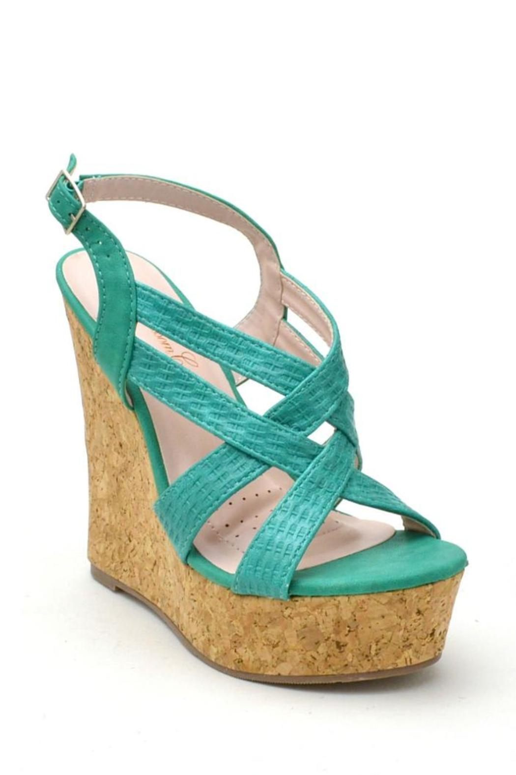 De Blossom Collection Strappy Color Wedges - Front Full Image