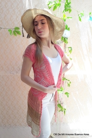 De Mil Amores Buenos Aires Crochet Cardigan Pink - Front full body