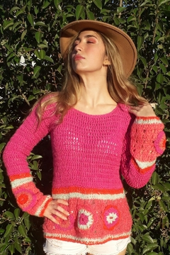 De Mil Amores Buenos Aires Crochet Pink Sweater - Product List Image