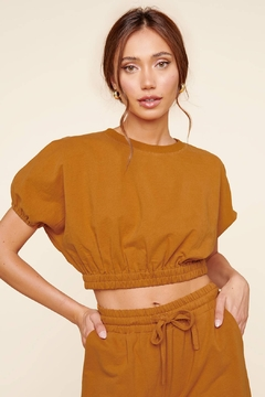 Sugarlips Deanna Dolman Puff Sleeve Terry Crop - Product List Image