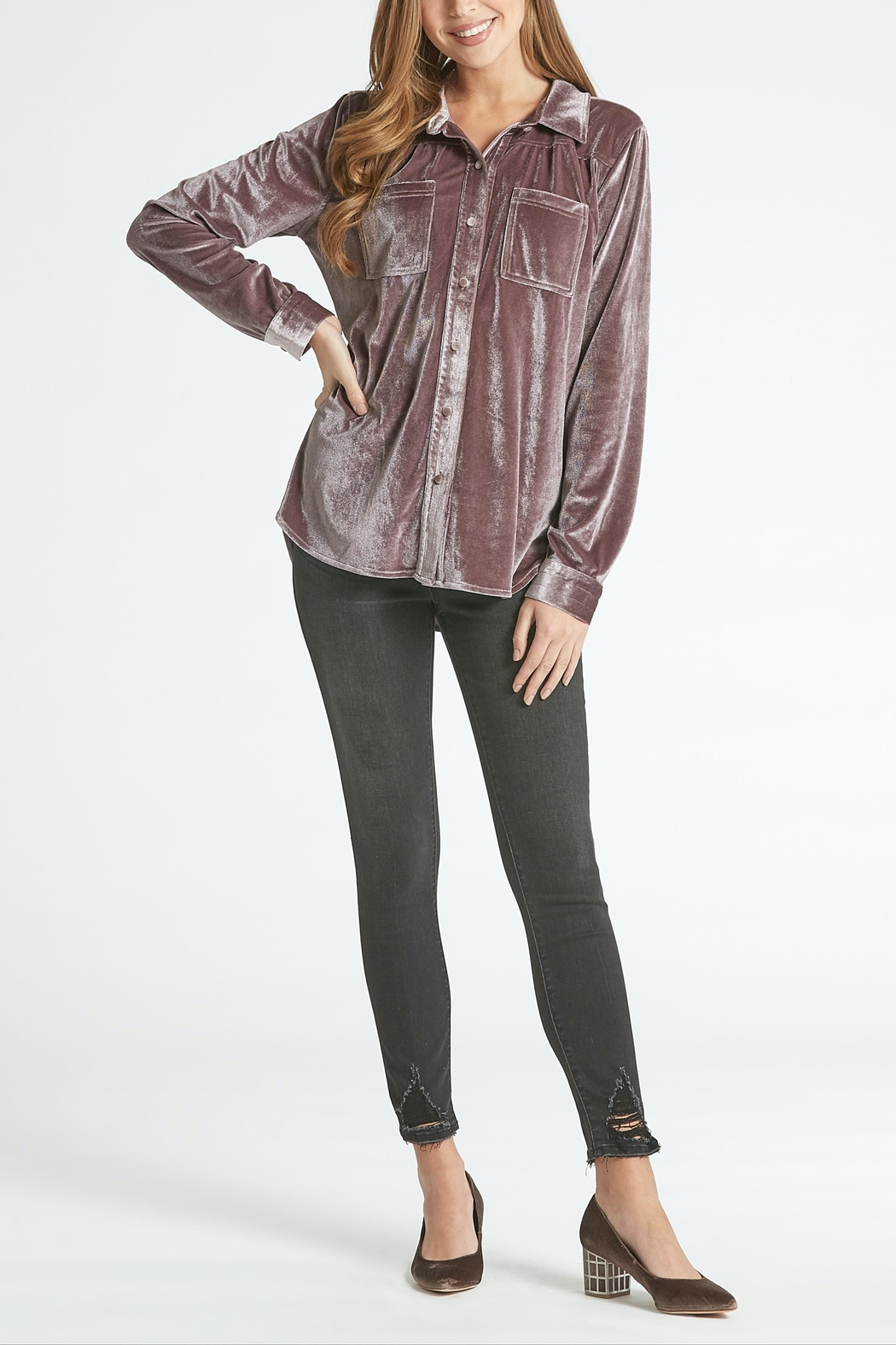 Dear John Leena Velvet Buttondown - Main Image