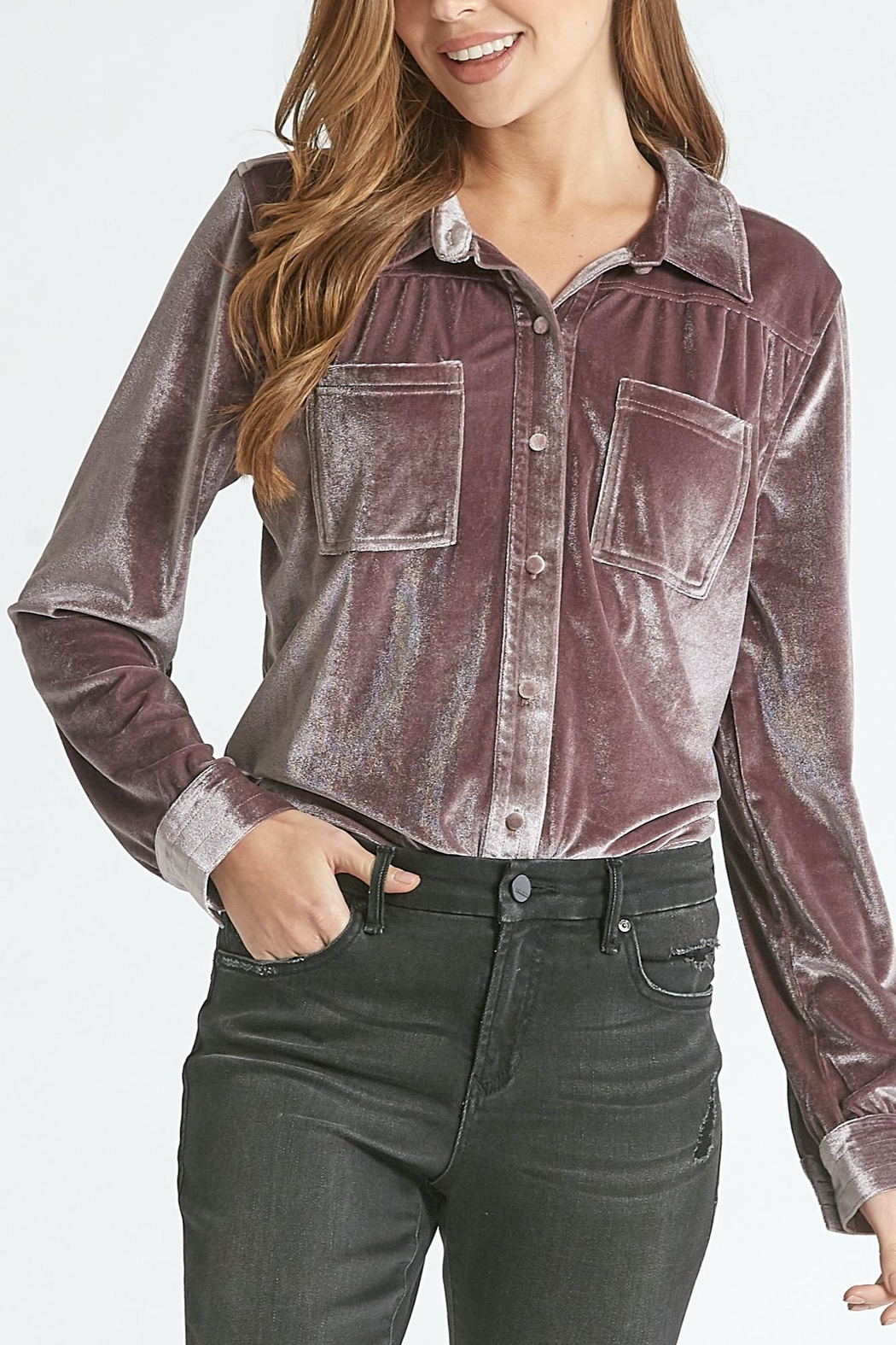 Dear John Leena Velvet Buttondown - Side Cropped Image