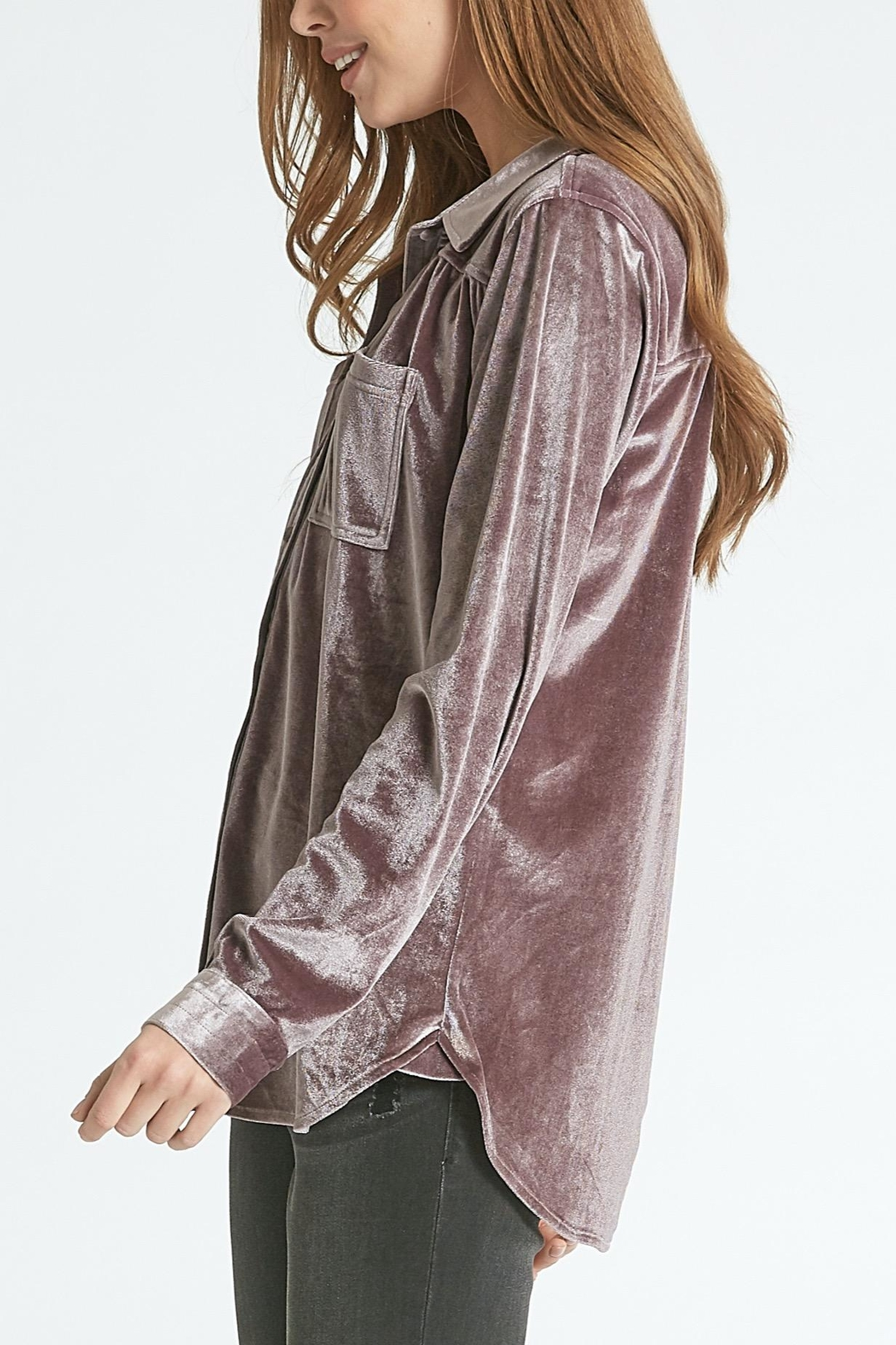 Dear John Leena Velvet Buttondown - Front Full Image