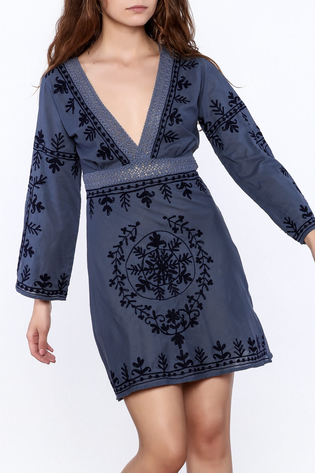 Debbie Katz Blue Embroidered Dress - Main Image