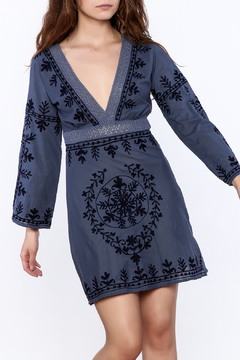 Shoptiques Product: Blue Embroidered Dress
