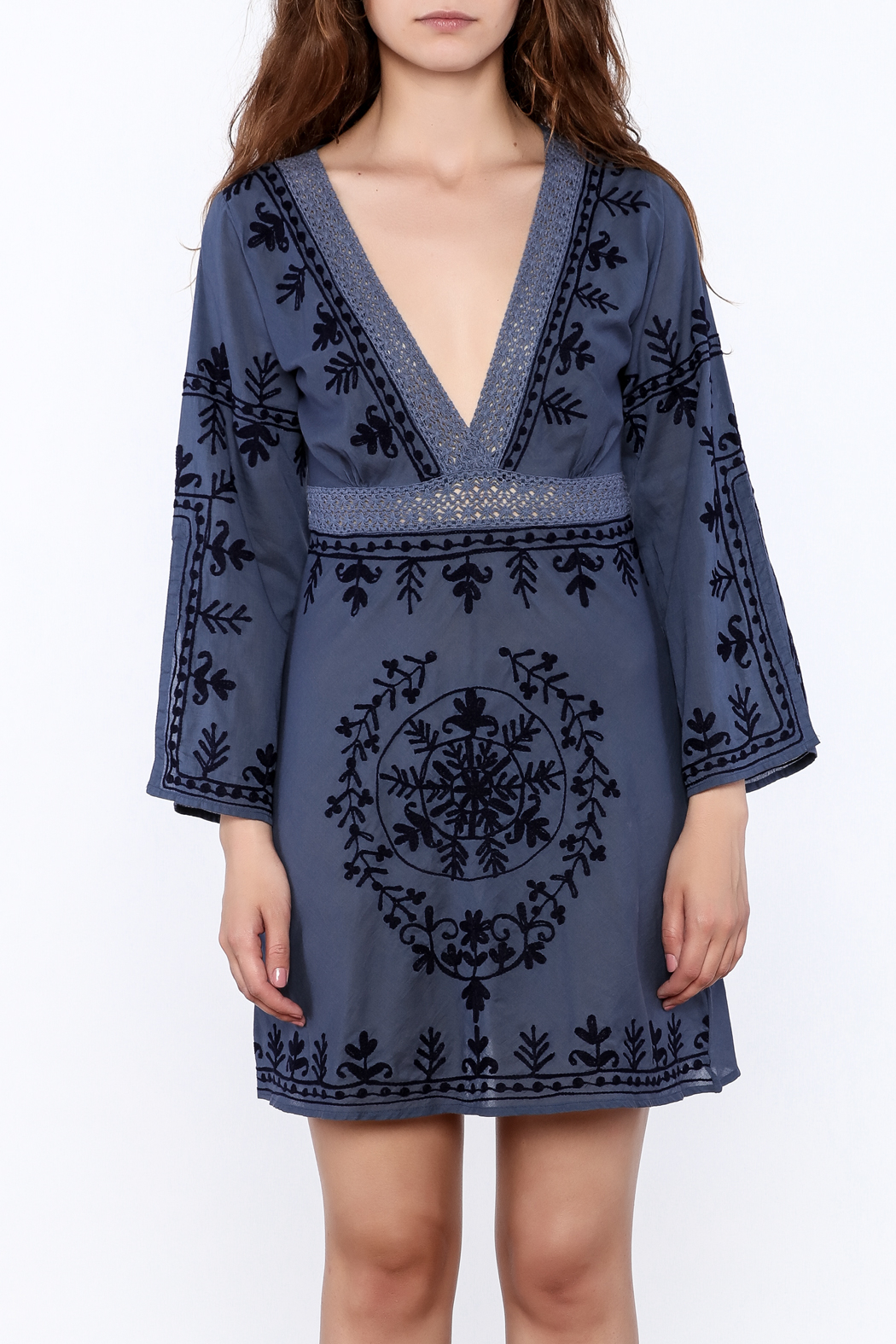 Debbie Katz Blue Embroidered Dress - Side Cropped Image